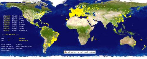 edonkey network peers geolocalization on 2009 Dec
